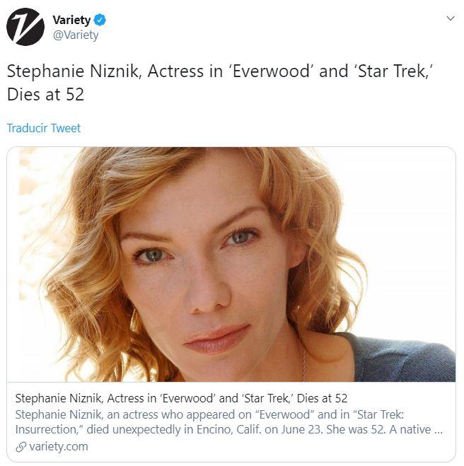 Foto: La revista Variety fue uno de los medios que reportó el fallecimiento de Stephanie Niznik, el 14 de julio de 2019 (Twitter @Variety)