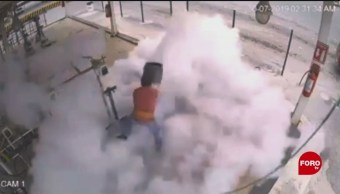 FOTO: Explota tanque de gas a trabajador en Saltillo, Coahuila