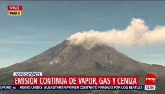 Volcán Popocatépetl registra emisiones de gas y ceniza