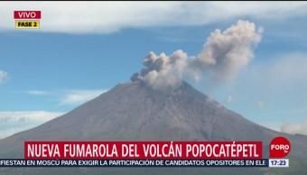 Volcán Popocatépetl se activa durante esta tarde