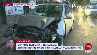 Accidente vehicular provoca tráfico en Las Granjas, Azcapotzalco, CDMX