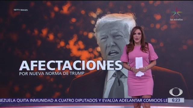 Afectaciones por nueva norma de Donald Trump