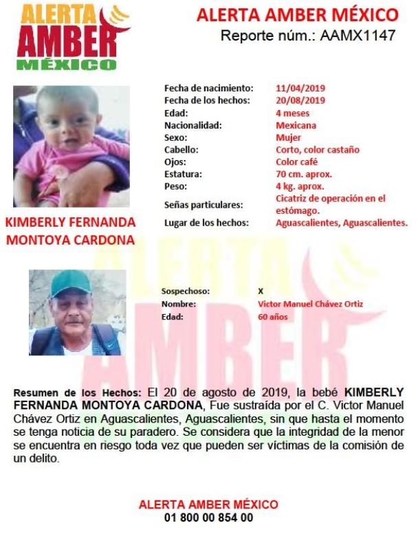 IMAGEN Alerta Amber: Ayuda a localizar a la bebé Kimberly Fernanda Montoya Cardona (Twitter)