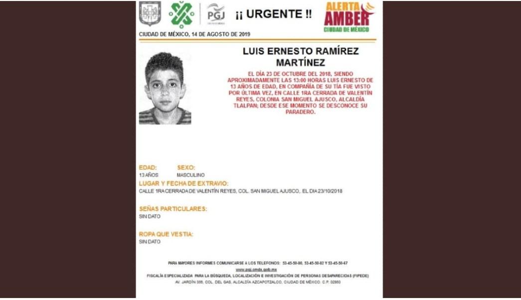 Alerta Amber: Luis Ernesto Ramírez Martínez