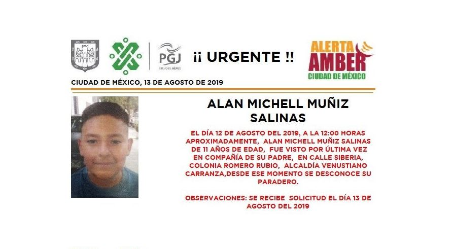 Foto Alerta Amber para localizar a Alan Michell Muñiz Salinas 13 agosto 2019