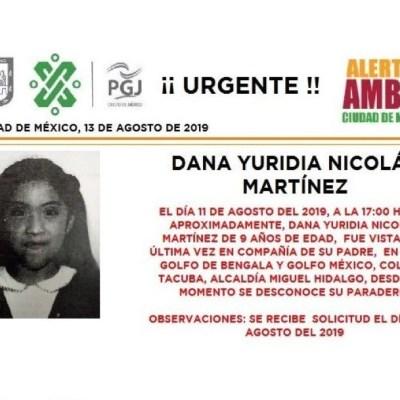 Alerta Amber: Ayuda a localizar a Dana Yuridia Nicolás Martínez