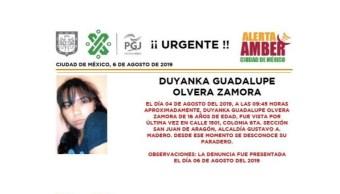 Foto Alerta Amber para localizar a Duyanka Guadalupe Olvera Zamora 7 agosto 2019