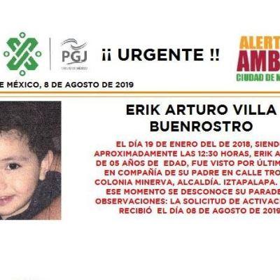 Alerta Amber: Ayuda a localizar a Erik Arturo Villa Buenrostro