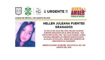 Foto Alerta Amber para localizar a Hellen Juleana Fuentes Granados 1 agosto 2019