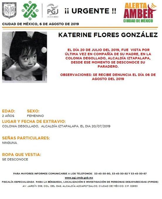 Foto Alerta Amber para localizar a Katerine Flores González 7 agosto 2019