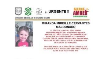 Foto Alerta Amber para localizar a Miranda Mireille Cervantes Maldonado 26 agosto 2019