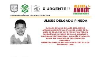 Foto Alerta Amber para localizar a Ulises Delgado Pineda 2 agosto 2019