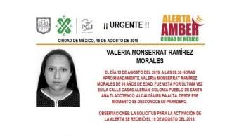 Foto Alerta Amber para localizar a Valeria Monserrat Ramírez Morales 19 agosto 2019