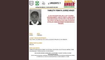 Foto: Alerta Amber Yamileth Yemaya Juárez Arazo, 16 de agosto de 2019, Ciudad de México