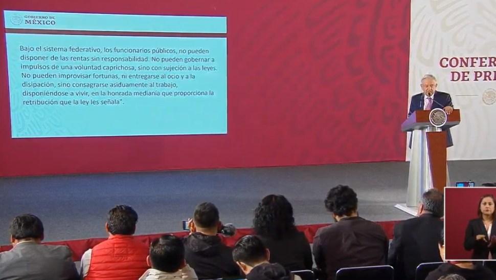 FOTO AMLO exhorta a la austeridad entre funcionarios (YouTube)