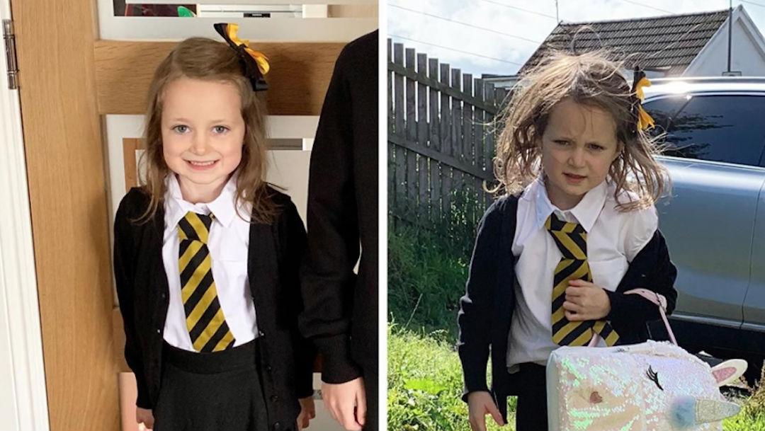 Foto Foto del antes y después de niña en su primer día de clases se vuelve viral 26 agosto 2019