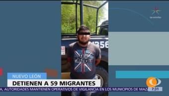 Aseguran a 59 migrantes en Nuevo León