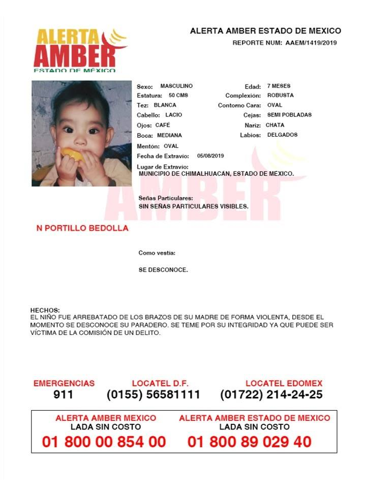 Foto Alerta Amber para localizar a N Portillo Bedolla 12 agosto 2019