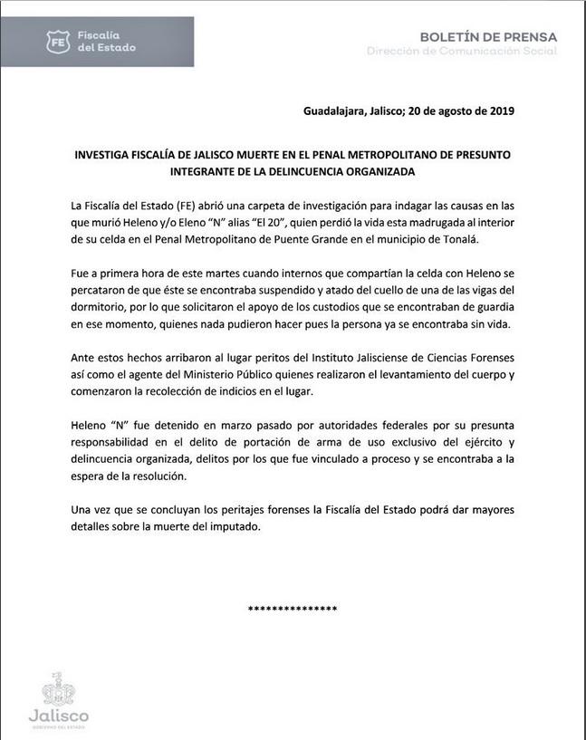 Boletín de la Fiscalía de Jalisco