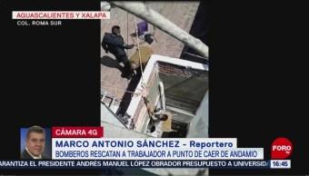 Foto: Video Bomberos Rescatan Trabajador Caer Andamio CDMX, 8 agosto 2019