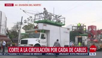 Foto: Caída Cables División Norte Afecta Vialidad