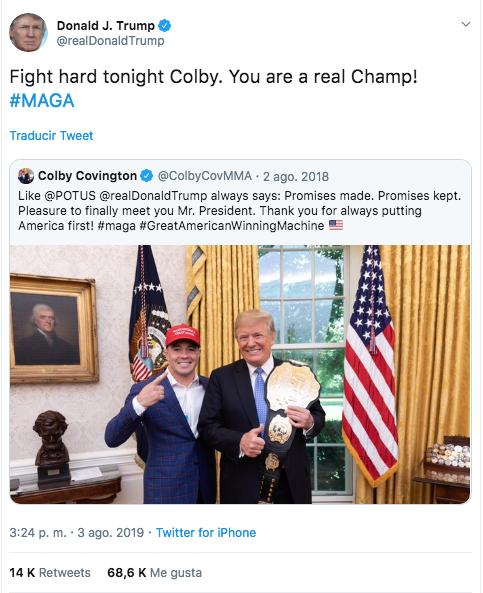 Foto: Tweet de Donald Trump con Colby. 4 agosto 2019