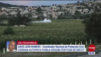 Cierran autopista Puebla-Orizaba por fuga de gas LP