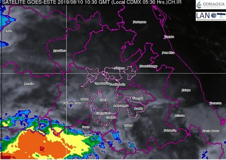 Foto: La imagen de satélite muestra cielo nublado en el centro del país, 10 agosto 2019