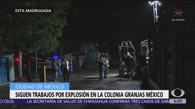 Continúan trabajos en zona de explosión en colonia Granjas México