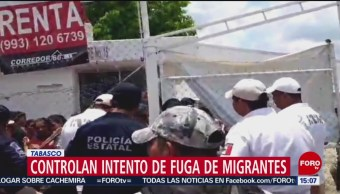 FOTO: Controlan intento de fuga en albergue de migrantes en Tabasco, 18 Agosto 2019