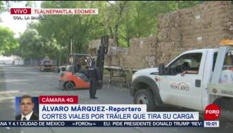 FOTO: Cortes viales por tráiler que tiró su carga en Tlalnepantla, 11 Agosto 2019