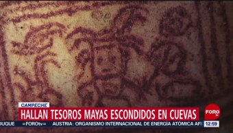 Descubren tesoros mayas escondidos en cuevas de Campeche