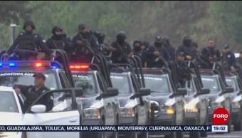 FOTO: Despliegan a 120 policías en Uruapan tras hallazgo de 19 cuerpos, 10 Agosto 2019