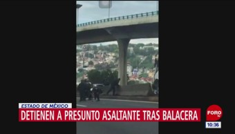 Detienen a presunto asaltante tras balacera en Estado de México