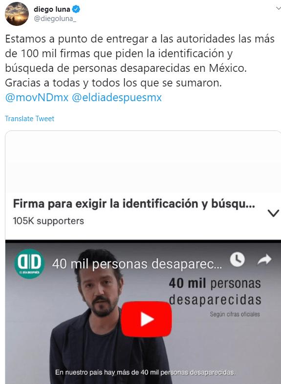 IMAGEN Diego Luna entrega carta en Palacio Nacional para exigir búsqueda de desaparecidos (Twitter)