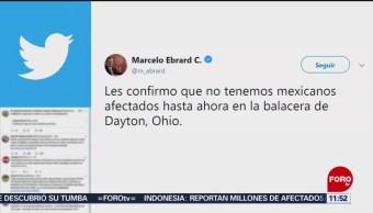 FOTO: Ebrard confirma que no hay mexicanos entre víctimas del tiroteo en Dayton, 4 Agosto 2019