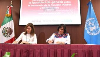 Foto: La secretaria de la Función Pública destacó que habrá capacitación para fomentar la cultura de respeto, 15 de agosto de 2019 (Twitter @SFP_mx)