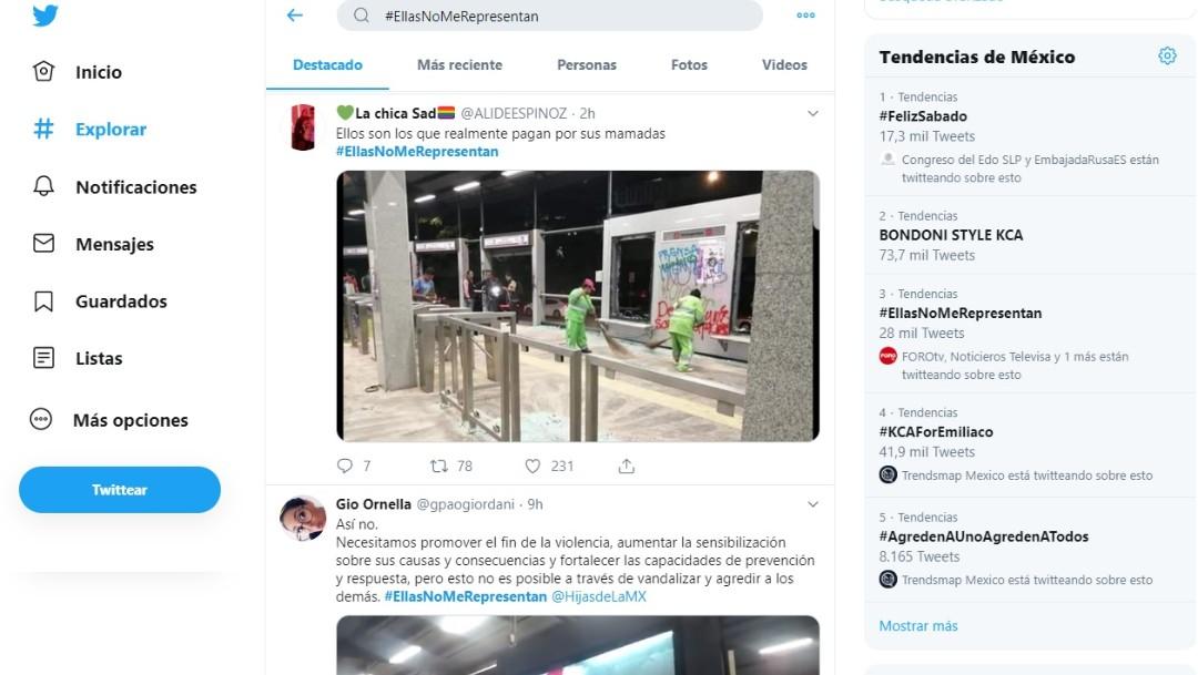 """Foto: En Twitter se difunde el """"#EllasNoMeRepresentan"""" con el que mujeres rechazaron los actos de vandalismo, 17 agosto 2019"""