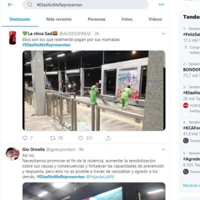Con hashtag '#EllasNoMeRepresentan' reprueban vandalismo en CDMX