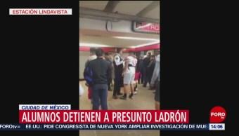 FOTO: Video Estudiantes IPN Detienen Ladrón Metro