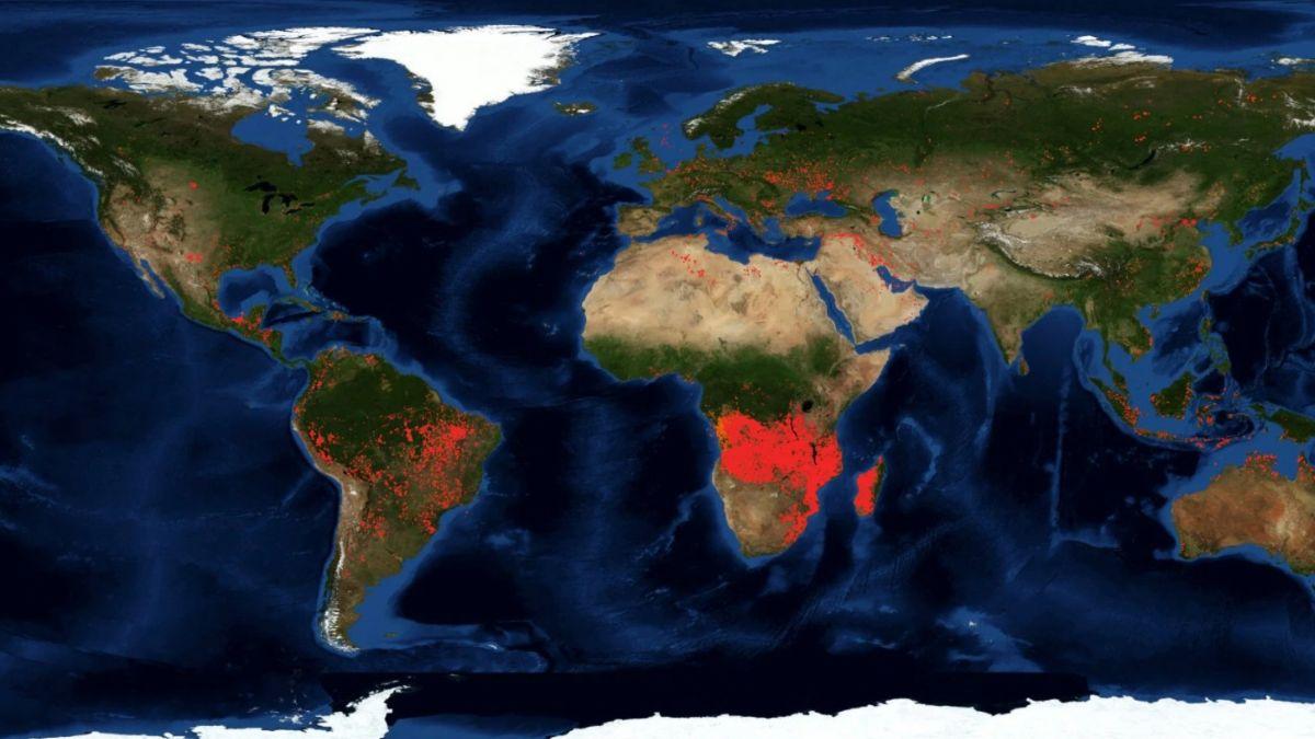 Foto: Imagen satelital de los incendios en el mundo. NASA