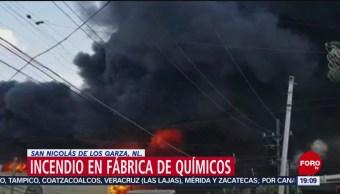 FOTO: Incendio en fábrica de químicos en Nuevo León, 18 Agosto 2019