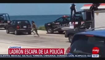 Foto: Video Ladrón Escapa Policías Campeche 27 Agosto 2019