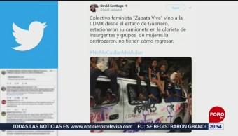 Foto: Manifestantes Destrozan Vehículo Colectivo Zapata Vive 16 Agosto 2019
