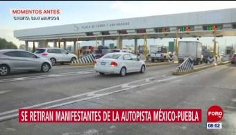 Manifestantes se retiran de la autopista México-Puebla; se desplazan a la CDMX