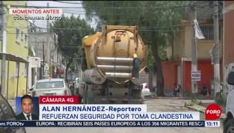 FOTO: Mantienen cerco de seguridad en Iztacalco por toma clandestina, 25 Agosto 2019