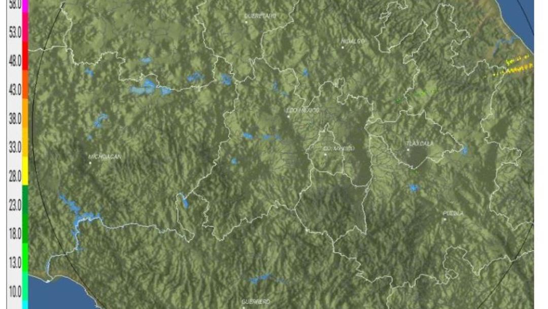 Foto: El radar detecta ecos de reflectividad asociados con lluvia en el Estado de México y Michoacán, 31 agosto 2019