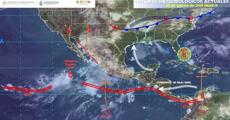 Mapa con el pronóstico del clima para este 23 de agosto de 2019. (SMN)