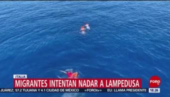 FOTO: Migrantes intentan nadar a Lampedusa, Italia, 18 Agosto 2019