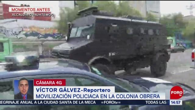 Foto: Movilización policíaca colonia Obrera CDMX